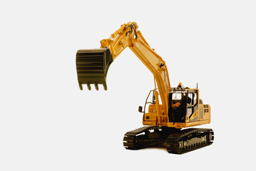 Excavator loader model on white background