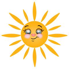 Un gioioso sole su sfondo bianco