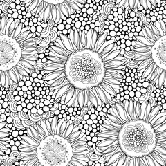 Vector seamless pattern with outline open Sunflower or Helianthus on the background with abstract circles. Floral pattern with ornate Sunflowers in contour style for summer design or coloring book.