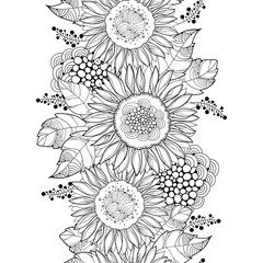 Vector seamless pattern with outline open Sunflower or Helianthus flower and leaves on the white background. Floral pattern with ornate Sunflowers in contour style for summer design or coloring book.