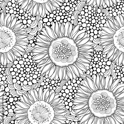 Vector Seamless Pattern With Outline Open Sunflower Or Helianthus On The Background Abstract Circles