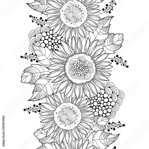 Vector Seamless Pattern With Outline Open Sunflower Or Helianthus Flower And Leaves On The White Background