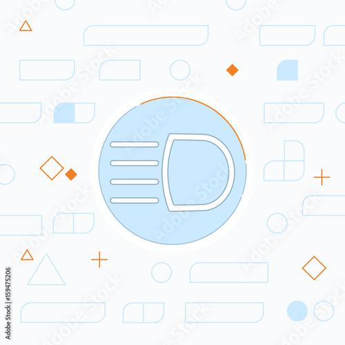 Headlight High Beam Symbol Vector Hmi Dashboard Flat Icon Stock
