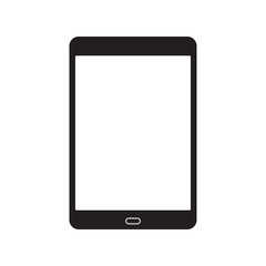 Tablet icon with blank display isolated