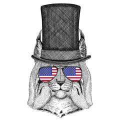 Wild cat Lynx Bobcat Trot wearing cylinder top hat and glasses with usa flag United states of America flag