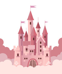 Pink castle with clouds. Vector flat illustration.