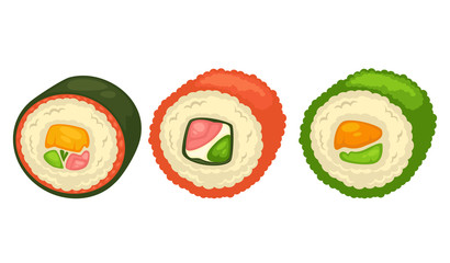 Delicious sushi rolls with fish and greens illustration