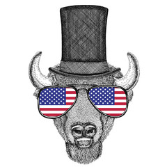 Buffalo, bison,ox, bull wearing cylinder top hat and glasses with usa flag United states of America flag