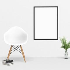 Großer Bilderrahmen in einem Raum mit modernen Accessoires