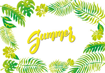Fresh and green summer. Illustration of leaves