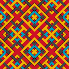 Geometric seamless pattern of red, blue, grey, and yellow shades