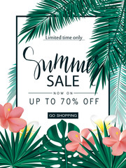 Summer sale. Tropical banner, poster with beautiful flowers, plants and leaves . Vector illustration.