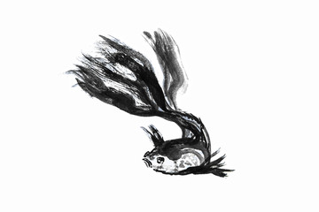 Abstract art painting golden fish life, Chinese Brush style painting golden fish in black and white. isolate fish with white background, include with path file.