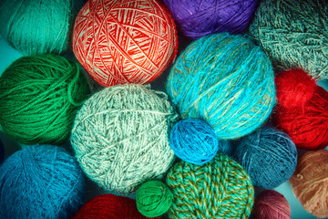 colorful wool yarn balls.wool yarn ball. Colorful threads for needlework