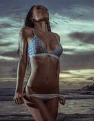 Sensual brunette beauty wearing bikini posing on the beach over amazing sea and cloudy sunset sky background