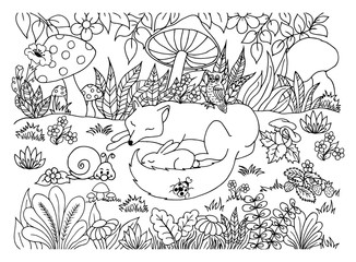 Vector illustration of a zentangl fox with a hare and a snail on a clearing among the mushrooms. The work is done manually. The book is a coloring book for adults and children. Black and white.
