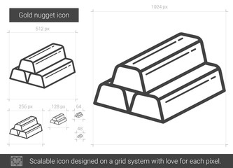 Gold nugget vector line icon isolated on white background. Gold nugget line icon for infographic, website or app. Scalable icon designed on a grid system.