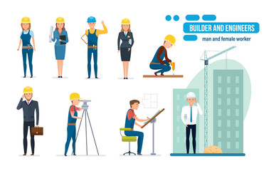 Engineers cartoon set with construction workers, architect, repairman and director.