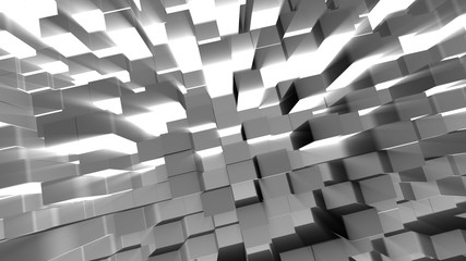 Abstract 3D block with glowing light background