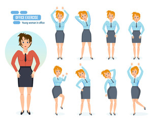Girl in office, in various poses and situations.