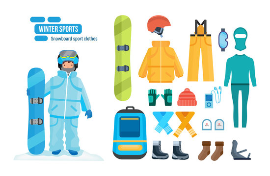 Set for creating character, snowboard sport clothes and tools elements.