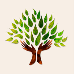 Wall Mural - Hand tree green nature people help illustration