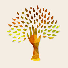 Wall Mural - Hand tree concept illustration for nature help