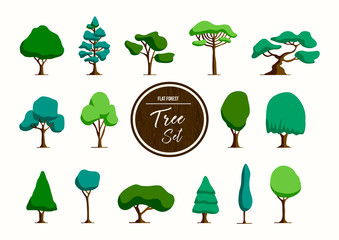 Green tree illustration set in hand drawn style