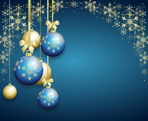 blue christmas background decorated with christmas bulbs