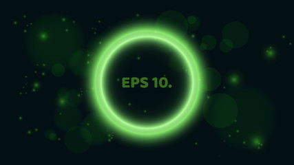 A round, glowing green banner on a black background. Banner in the form of a bubble. A place for your projects. Bright, flying glare. Vector illustration. EPS 10