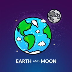 Planet Earth with the Moon, vector illustration