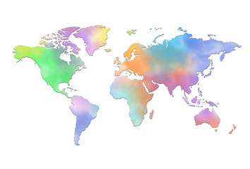 Colored Map of world on white background