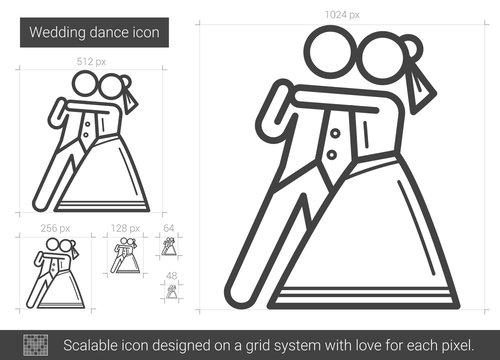 Wedding dance line icon.