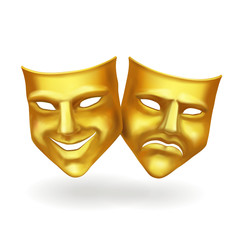 Theater masks, gold icons realistic vector