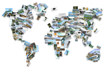 World map of photos from different places on white background. Concept of travel memories