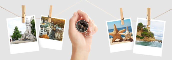 Photos from different places around world and female hand with compass on light background. Concept of travel memories