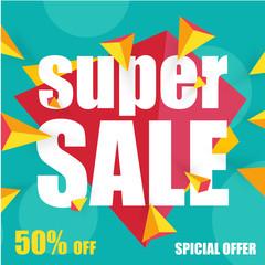 Offer super sale blue banner