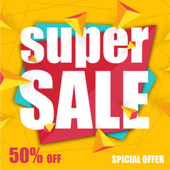 Offer super sale yellow banner