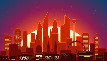 Modern cityscape in the morning vector illustartion. Big city scene