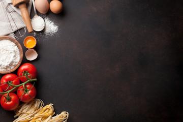 Keuken foto achterwand Koken Pasta cooking ingredients