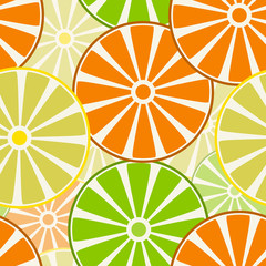 Fruits, slices of oranges, lemons and limes. Seamless pattern.