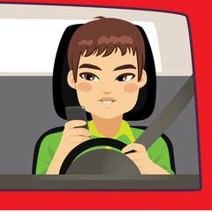 Man driving using smartphone problem addiction danger concept
