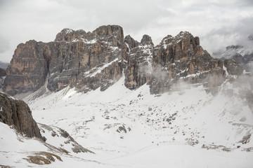 Winter view of Dolomites in the area of Trentino-Alto-Adige region, Italy. Selective focus