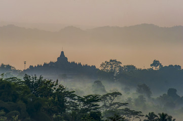 Borobudur Temple foggy morning