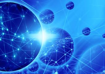 web network blue grid background
