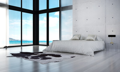 3D rendering interior model of modern bedroom design and sea view