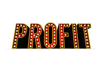 Typical theater style 3D letters spelling the word Profit over white background
