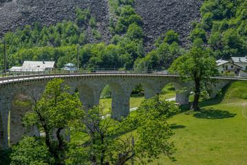 Circular viaduct bridge near Brusio on the Swiss Alps - 5