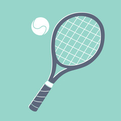 Tennis racket and ball illustration.
