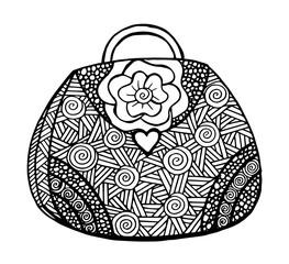 Hand drawn of woman's handbag. Doodle, ornate, ornament style